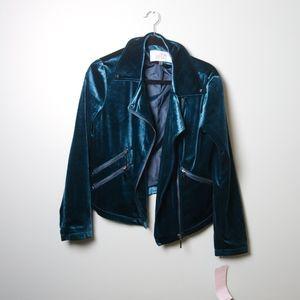 Beautiful Badgley Mischka Teal Velvet Motto Jacket